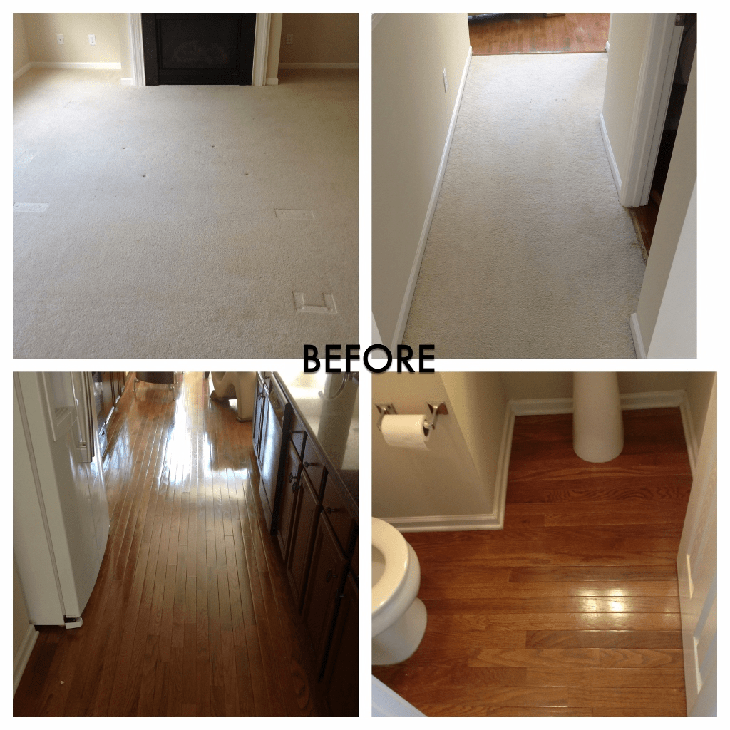 Carpet flooring before and hardwood flooring after | Flooring By Design