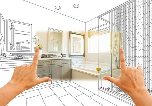 Master bathroom photo section with drawing behind | Flooring By Design